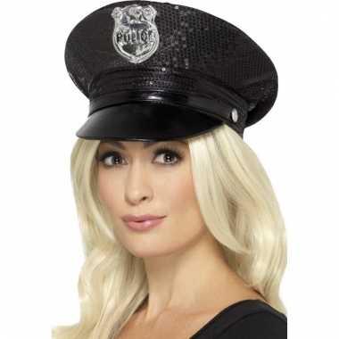 Afgeprijsde agent pet met pailletten zwart voor dames