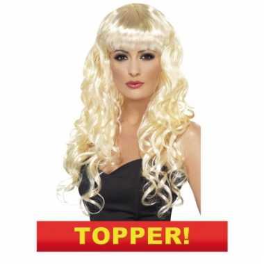 Afgeprijsde blonde snollen pruik 10049652