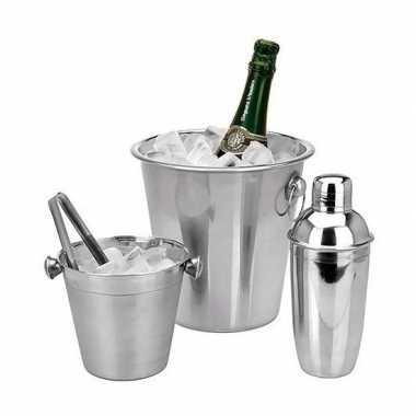 Afgeprijsde bruiloft bar set cocktailshaker en flessenkoeler
