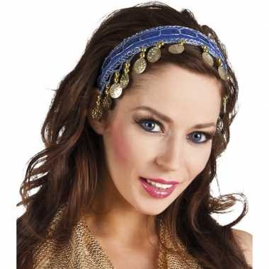 Afgeprijsde carnaval esmeralda buikdanseres hoofdband kobalt blauw vo