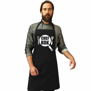Afgeprijsde chef kok keukenschort zwart heren en dames