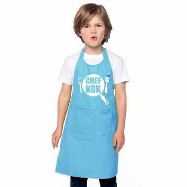 Afgeprijsde chef kok kookschort kinderen blauw