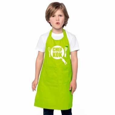 Afgeprijsde chef kok kookschort kinderen lime groen