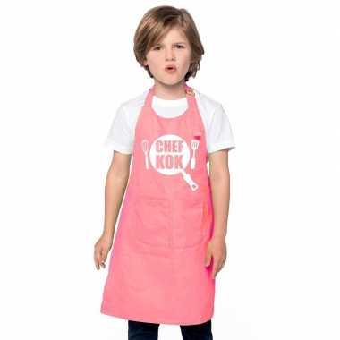 Afgeprijsde chef kok kookschort kinderen roze