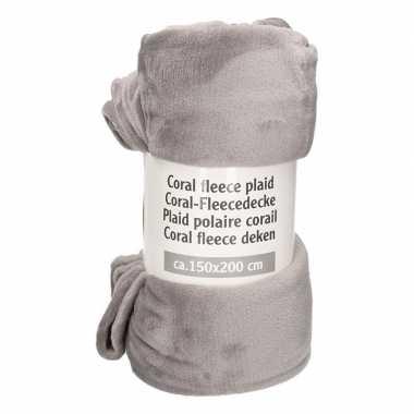 Afgeprijsde donker grijs fleece plaid/dekentje 150 x 200 cm