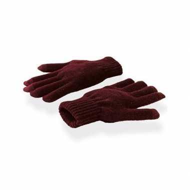 Afgeprijsde donkerrode winter handschoenen voor je mobiel