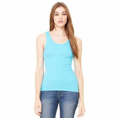 Afgeprijsde fel blauwe dames rib shirt zonder mouwen