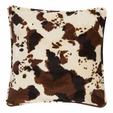 Afgeprijsde fluwelen kussen met koeienprint 47 x 47 cm