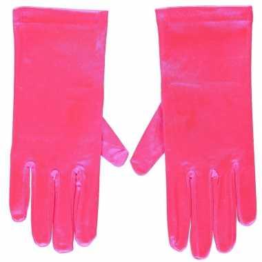 Afgeprijsde fuchsia roze gala handschoenen kort van satijn 20 cm