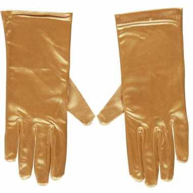 Afgeprijsde gouden gala handschoenen kort van satijn 20 cm