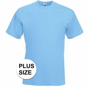 Afgeprijsde grote maten licht blauwe t-shirts met korte mouwen voor h