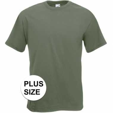Afgeprijsde grote maten olijf groene t-shirts met korte mouwen voor h