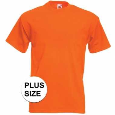 Afgeprijsde grote maten oranje t-shirts met korte mouwen voor heren