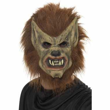 Afgeprijsde halloween weerwolf masker van latex