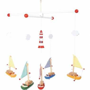 Afgeprijsde hangdecoratie mobiel voor kinderen met zeilboten 39 cm
