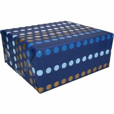 Afgeprijsde kadopapier blauwe stippen type 4 70 x 200 cm