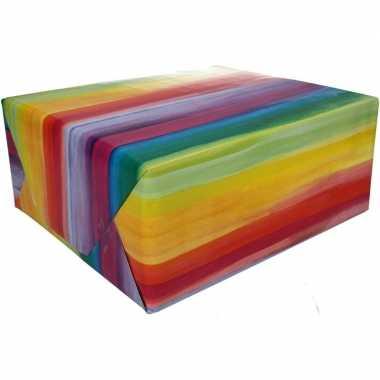 Afgeprijsde kadopapier met strepen print type 2 70 x 200 cm