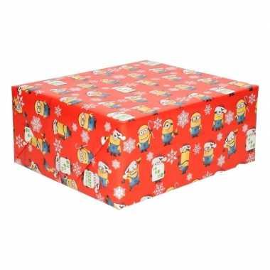 Afgeprijsde kerst inpak papier minions rood