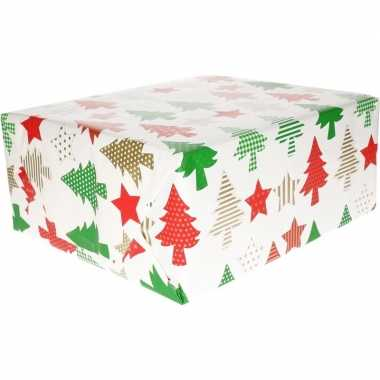 Afgeprijsde kerst kadopapier rode/groene/gouden bomen en sterren 70 x