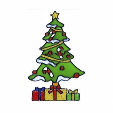Afgeprijsde kerstboom raam sticker 18 cm