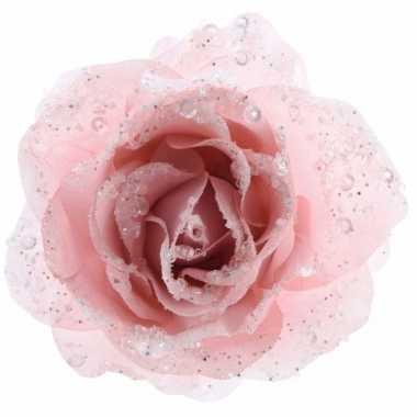 Afgeprijsde kerstroos roze kunstbloem 14 cm