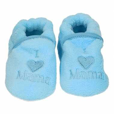 Afgeprijsde kraamcadeau blauwe babyslofjes/pantoffels love mama