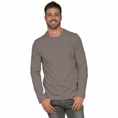 Afgeprijsde longsleeves basic shirts grijs voor mannen
