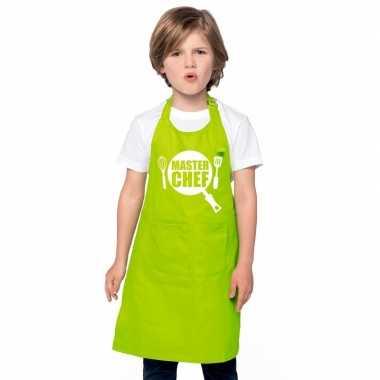 Afgeprijsde master chef kookschort kinderen lime groen