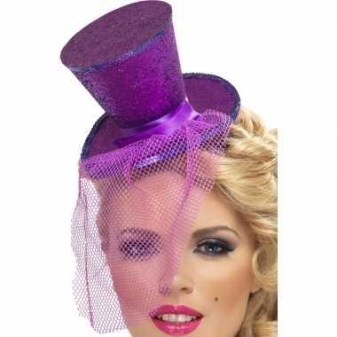 Afgeprijsde mini hoedje paars op haarband
