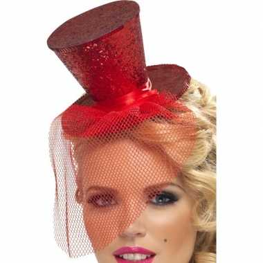 Afgeprijsde mini hoedje rood op haarband