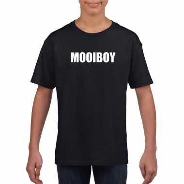 Afgeprijsde mooiboy tekst t-shirt zwart kinderen