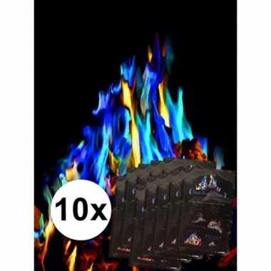 Afgeprijsde mystical fire gekleurd kampvuur 10 st