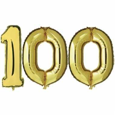 Afgeprijsde opblaas 100 jaar ballonnen goud