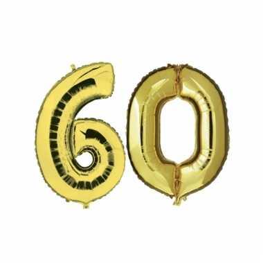 Afgeprijsde opblaas 60 jaar ballonnen goud