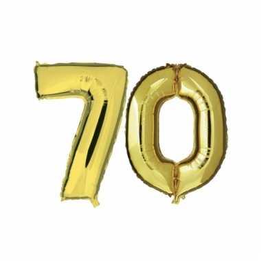 Afgeprijsde opblaas 70 jaar ballonnen goud