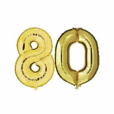 Afgeprijsde opblaas 80 jaar ballonnen goud