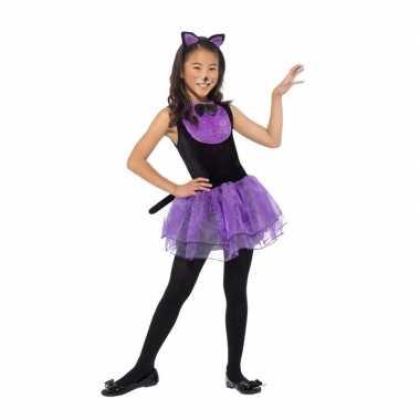 Afgeprijsde paars/zwarte katten kostuum voor meiden