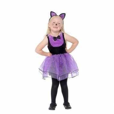 Afgeprijsde paars/zwarte katten kostuum voor peuters