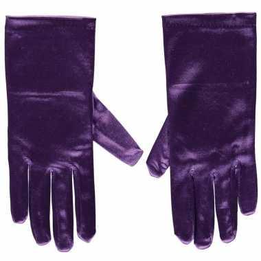 Afgeprijsde paarse gala handschoenen kort van satijn 20 cm