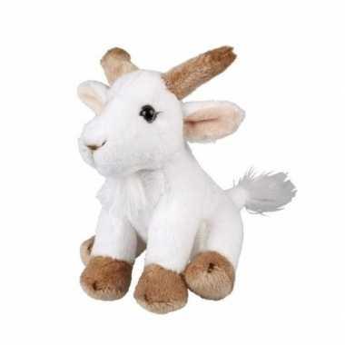 Afgeprijsde pluche geit wit zittend knuffeldier van 15cm