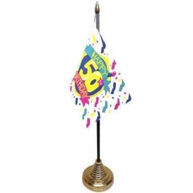 Afgeprijsde polyester 50 jaar vlag 10 x 15 cm tafel versiering