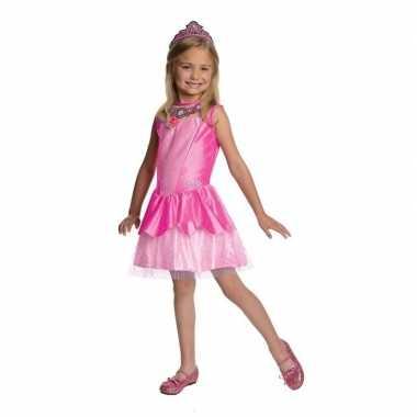 Afgeprijsde prinses jurkje roze met tiara voor meisjes