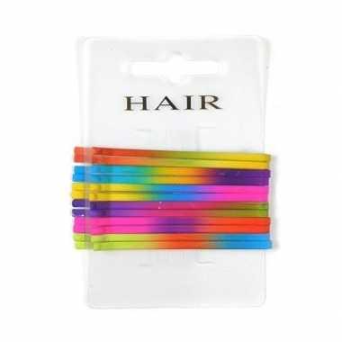 Afgeprijsde regenboog haarspeldjes schuifjes 6.5 cm