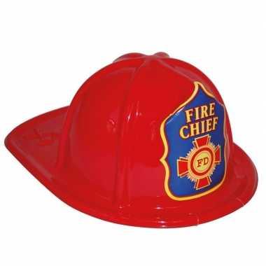 Afgeprijsde rode brandweerhelm speelgoed verkleedaccessoire voor kind