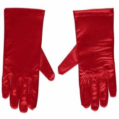 Afgeprijsde rode gala handschoenen kort van satijn 20 cm
