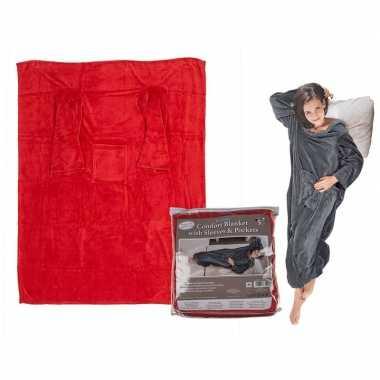 Afgeprijsde rode snuggie fleece deken 135 x 172 cm