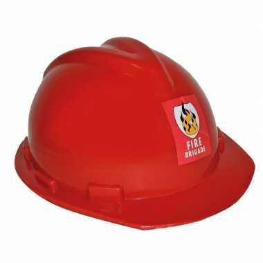 Afgeprijsde rode verstelbare brandweerhelm verkleed accessoire volwas