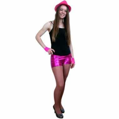 Afgeprijsde sexy shorts metallic roze