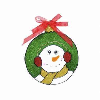 Afgeprijsde sneeuwpop raam sticker 18 cm