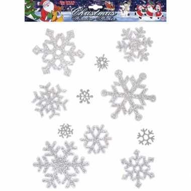 Afgeprijsde sneeuwvlok raamstickers zilver herbruikbaar